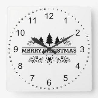 Black White Merry Christmas Square Wall Clock