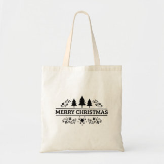 Black White Merry Christmas Tote Bag