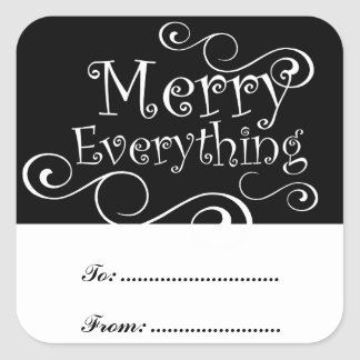 Black White Merry Everything Swirls Present Labels