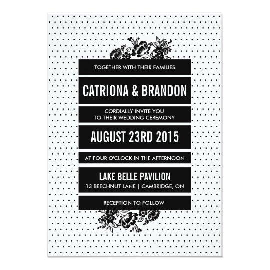 Black & White Mod Colour Block Wedding Invitation