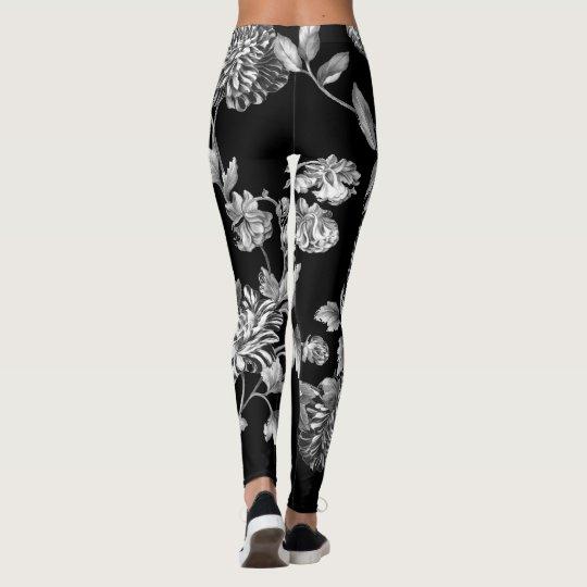 Black & White Modern Botanical Floral Toile Black Leggings