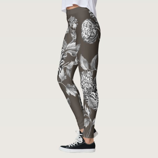 Black White Modern Botanical Floral Toile Espresso Leggings