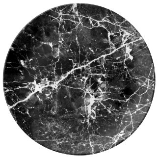 Black white modern chic marble texture patterns plate