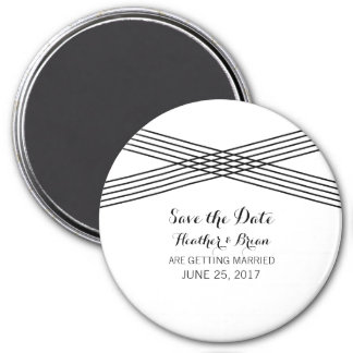 Black White Modern Deco Save the Date Magnet 3 Inch Round Magnet