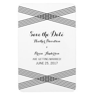 Black White Modern Deco Save the Date Magnet Rectangular Photo Magnet