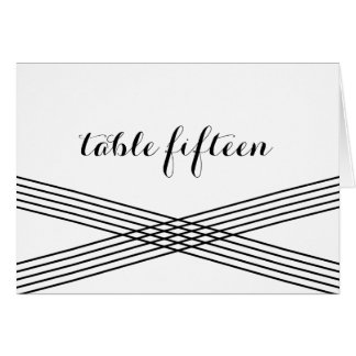 Black White Modern Deco Table Number Card Greeting Card
