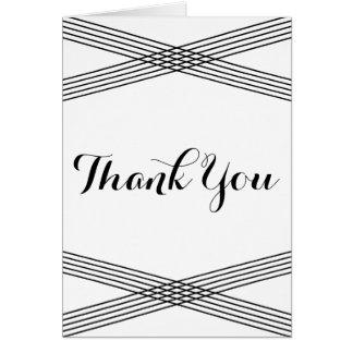 Black White Modern Deco Thank You Card Greeting Card