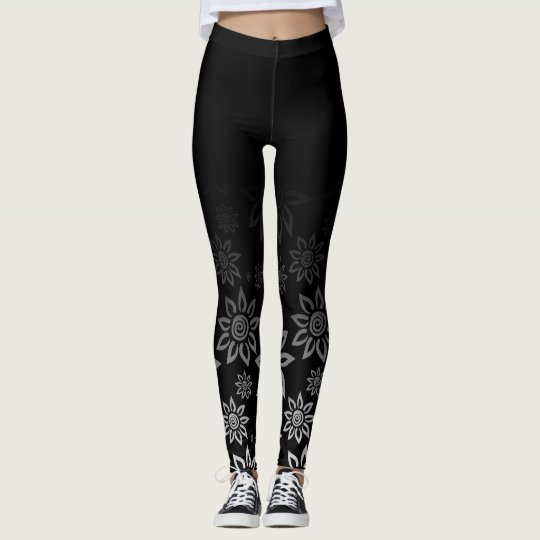 Black & White Modern Graphic Flower Pattern Leggings