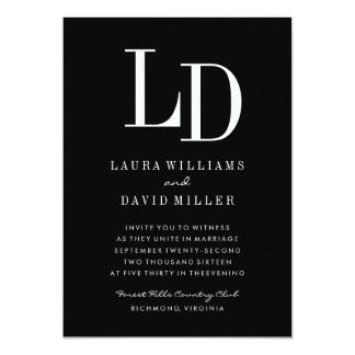 Black & White Modern Monogram Wedding Invitation
