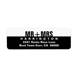 Black White Modern Simple MR and MRS Return Address Label