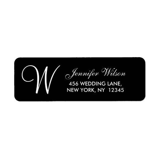 Black White Modern Wedding Address Label