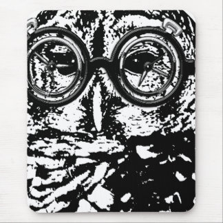 Black white monochromatic owl with glasses mousepad