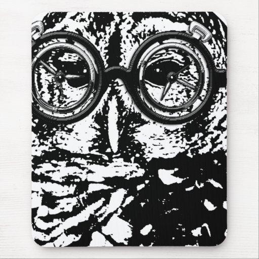 Black & white monochromatic owl with glasses mousepad