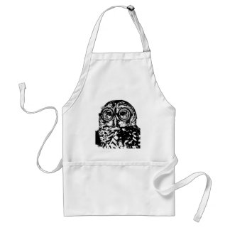 Black & white monochromatic owl with glasses standard apron
