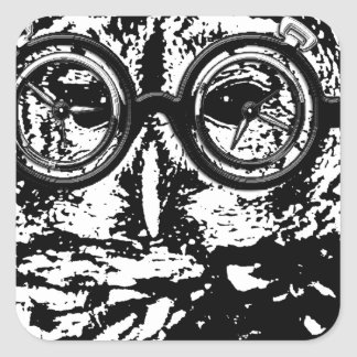 Black & white monochromatic owl with glasses square stickers