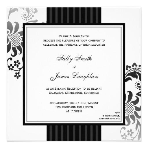 Black & White Monochrome Band Wedding Invitation