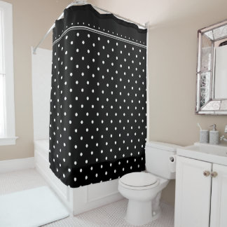 Black White Monochrome Polka Dot Spots Pattern Shower Curtain