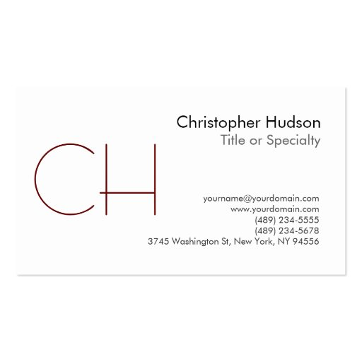Black White Monogram Business Card