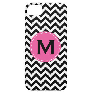 Black White Monogram Chevron Pattern Barely There iPhone 5 Case