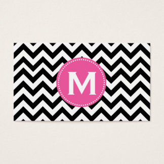 Black White Monogram Chevron Pattern Business Card