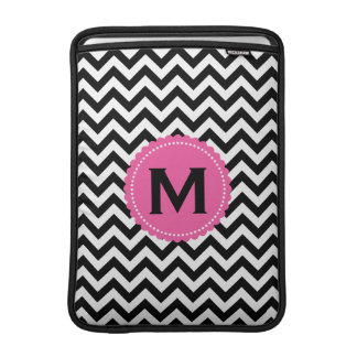 Black White Monogram Chevron Pattern MacBook Sleeve