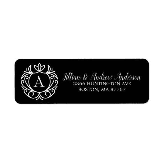 Black White Monogram Christmas Address Label