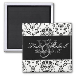 Black + White Monogram Damask Wedding, Magnets