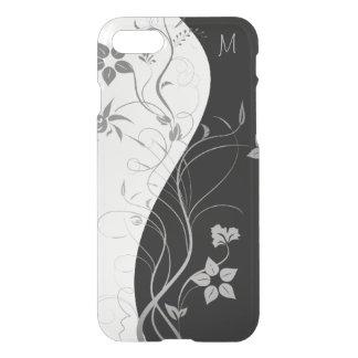 Black White Monogram Modern Floral iPhone 7 Case