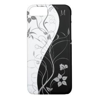 Black White Monogram Modern Floral iPhone 8/7 Case