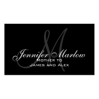 Black White Monogram Mommy Calling Card Business Card Templates