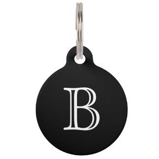 Black White Monogram Name Pet Name Tag