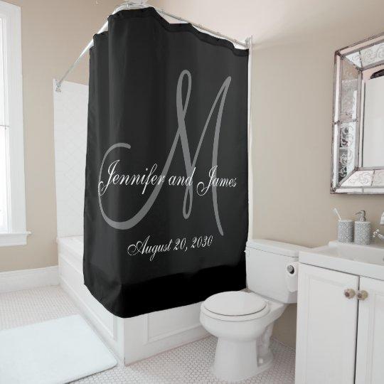 Black White Monogram Newlyweds Names Wedding Shower Curtain