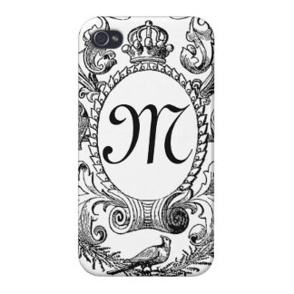 Black White Monogram Vintage Frame Case For iPhone 4