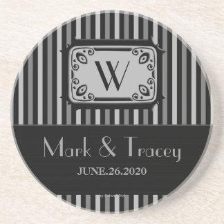 Black/White Monogram Wedding Coaster