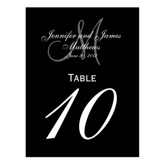 Black White Monogram Wedding Table Number Cards Postcard