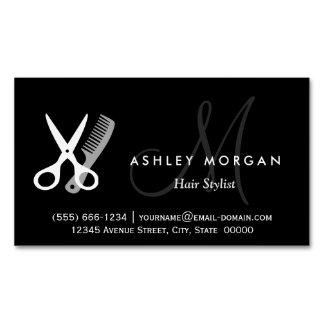Black White Monogrammed - Hair Salon Hairstylist Magnetic Business Cards