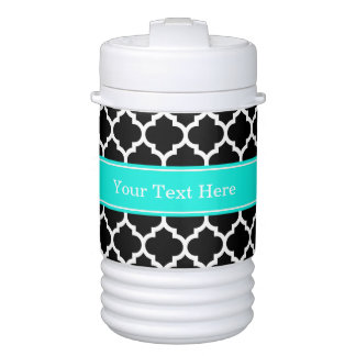 Black White Moroccan #5 Brt Aqua Name Monogram Cooler