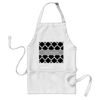 Black White Moroccan #5 Dark Gray Name Monogram Standard Apron