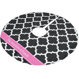 Black White Moroccan #5 Hot Pink #2 Name Monogram Brushed Polyester Tree Skirt