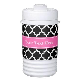 Black White Moroccan #5 Hot Pink #2 Name Monogram Drinks Cooler
