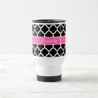 Black White Moroccan #5 Hot Pink #2 Name Monogram Stainless Steel Travel Mug