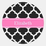 Black White Moroccan #5 Hot Pink #2 Name Monogram Round Sticker