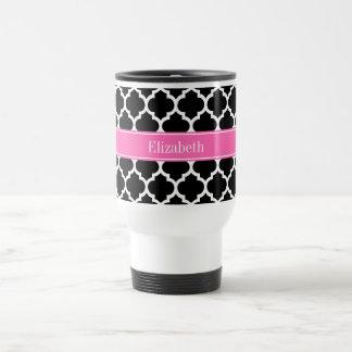 Black White Moroccan #5 Hot Pink #2 Name Monogram Travel Mug