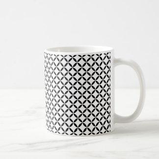 Black White Moroccan Inspired Quatrefoil Lattice Coffee Mug