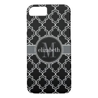Black White Moroccan Quatrefoil Monogram iPhone 8/7 Case
