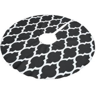 Black White Moroccan Quatrefoil Pattern #4 Brushed Polyester Tree Skirt