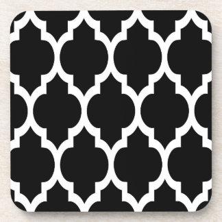 Black White Moroccan Quatrefoil Pattern #4 Coaster