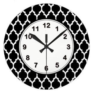Black White Moroccan Quatrefoil Pattern #4 Large Clock