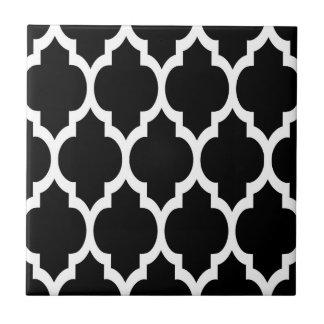 Black White Moroccan Quatrefoil Pattern #4 Small Square Tile