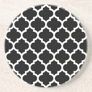 Black White Moroccan Quatrefoil Pattern #5 Coaster